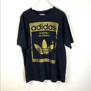 Adidas Originals Black and Gold Trefoil Logo XL